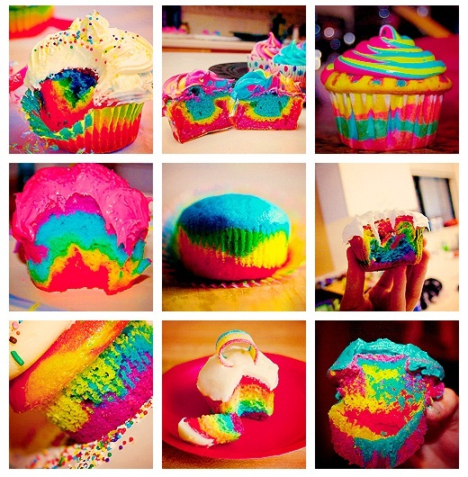 Rainbow cupcakes.the color..oh my~