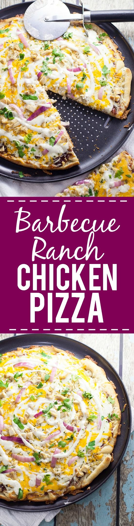 Barbecue Ranch Chicken Pizza Recipe - Barbecue and ranch are an unexpected but delicious combination that go perfectly on this Barbecue Ranch Chicken Pizza, along with chicken, red onions and lots of gooey cheese.  Perfect easy family dinner recipe!