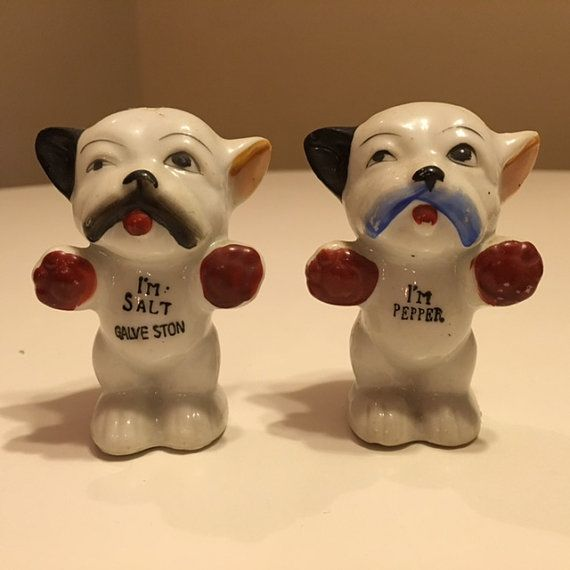 Unusual Dog Salt and Pepper Shakers by TheTeaberryCottage on Etsy