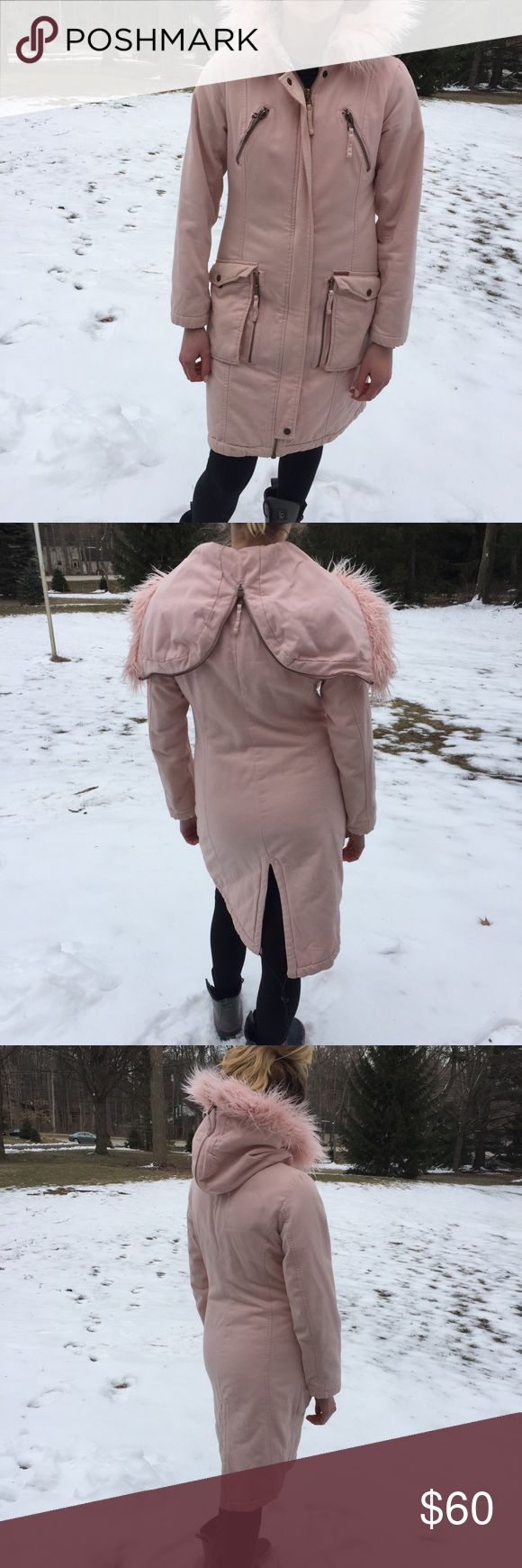 Calvin Klein light pink parka 100% cotton light pink parka. Super warm and cute with warm lining. Fitted shape, unfortunately too small for me :(  small strain on wrist however I imagine taking it to the dry cleaners would take it right out Calvin Klein Jackets & Coats