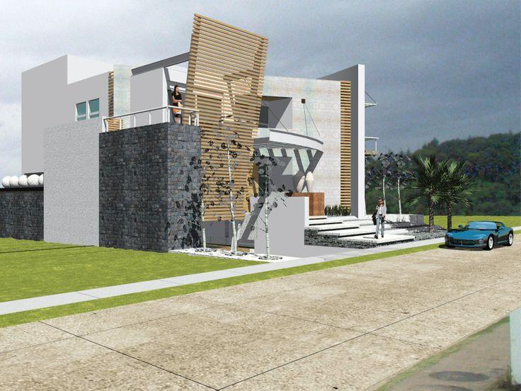 El diseño de la casa SAi, un tratamiento en fachada ventilada, con louver de aluminio acabado madera, trazos, giros, contrastes y movimientos El génesis del cambio de paradigma arquitectonico