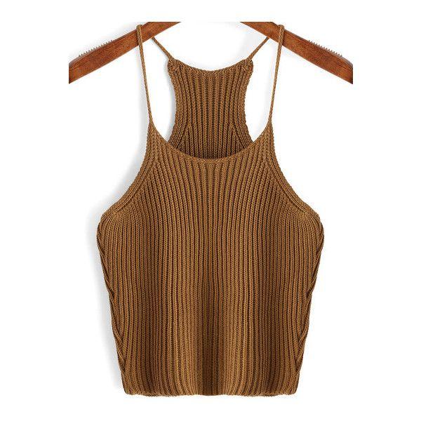 SheIn(sheinside) Khaki Spaghetti Strap Sweater Cami Top ($12) ❤ liked on Polyvore featuring tops, khaki, stretch tank top, brown tank, cami tank, spaghetti strap camisole tops and brown tank top