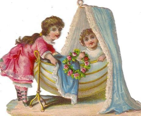 Victorian Scrap Little Girl & Baby Sister in Bassinett  Die Cut c1880