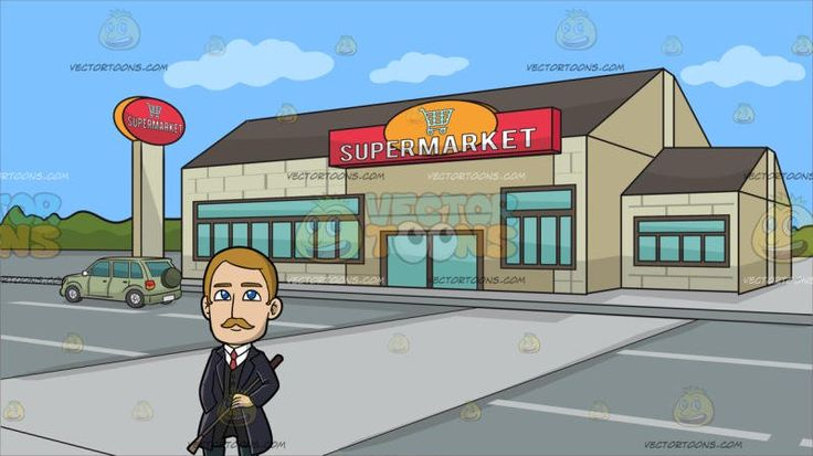 An Affluent Male Missionary At Outside A Large Supermarket:  A man with blonde hair and mustache wearing a white dress shirt pale red necktie black vest pants midnight bluish gray boots dark purple trench coat smiles while holding a brown whip in his left hand as he places his right hand inside his coat pocket. Set in a building with gray roofing beige bricked walls glass windows huge huge doors a supermarket sign situated along the highway with a big gray road and a light green wagon…