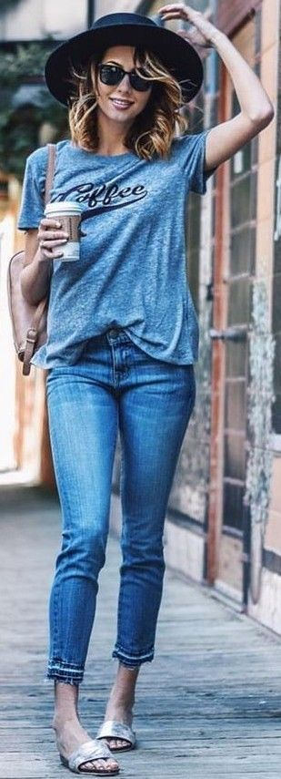 #summer #hot #weather #outfits | Tee + Jeans
