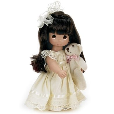 Brunette Girl with Mini Plush Bear - 12in Precious Moments Doll, 4643