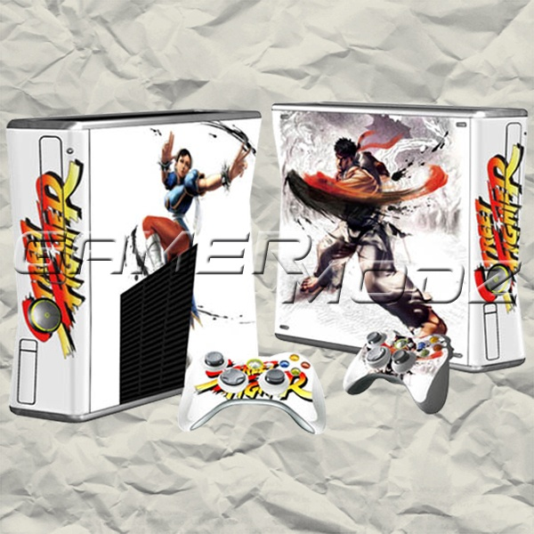 Street Fighter XBOX 360 Skin Set - Console with 2 Controllers