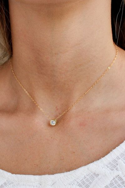 SUSPENDED SOLITAIRE NECKLACE - Christine Elizabeth Jewelry - Glamour and Glow