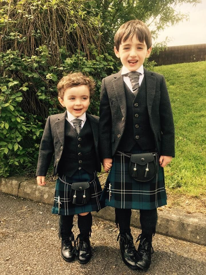Here are brothers Declan and Cabhan, both in Blue Ramsay #kilts and Glen Orchy Tweed jacket and waistcoats. They were attending a #wedding in #Ireland and were the only ones in kilts so got lots of attention! Our child's kilt hire starts from only £69. #macgregorandmacduff #highlandwear