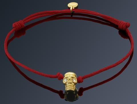 Bratara Rosie cu Craniu Placat Aur