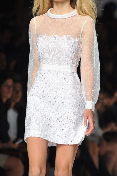 white lace in mini skirt