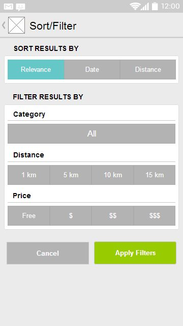 Search Filter from Eventbrite - one of the most shameless filters ever (in a good way;)) #ux #wireframe #mobiledesign