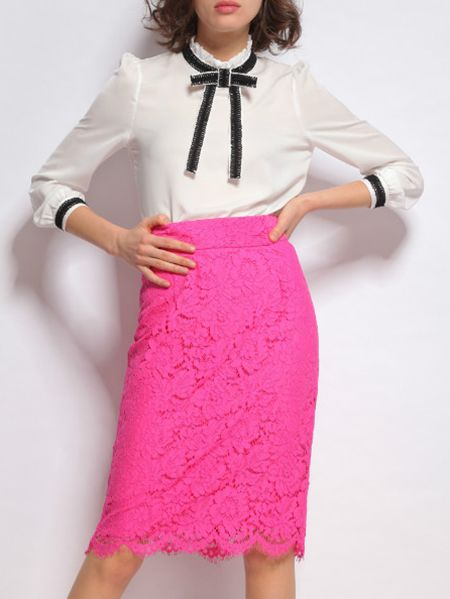Shop Hot Pink Bowtie Top With Lace Skirt online. SheIn offers Hot Pink Bowtie Top With Lace Skirt & more to fit your fashionable needs.