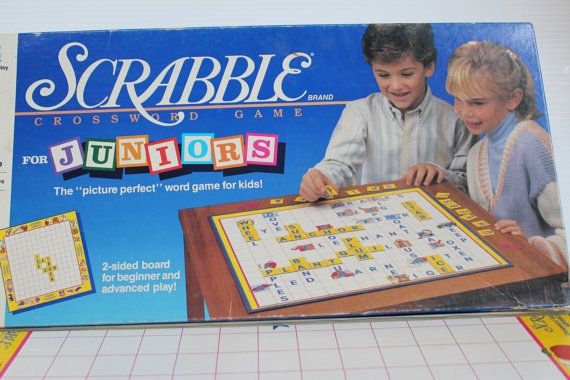SCRABBLE JUNIOR, 1989 Vintage Board Game, board game for child,gift for child,Milton Bradley Board Game with two sides,vintage Scrabble game