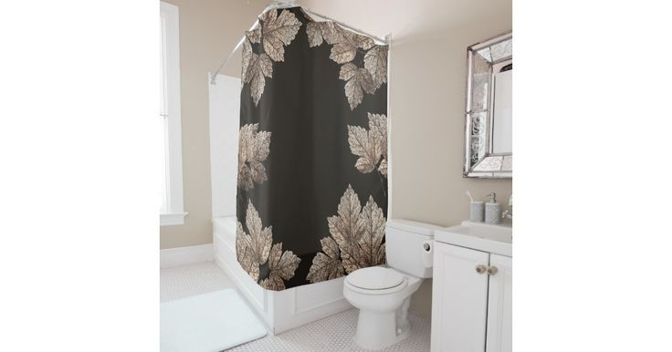 Dark Brown & Bronze Leaves Rustic Glam Fall Shower Curtain.