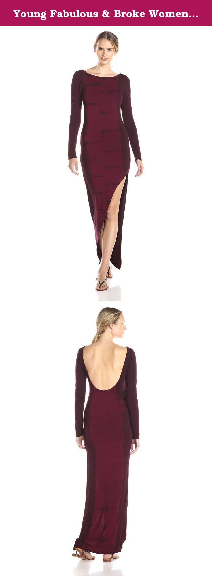 Young Fabulous & Broke Women's Krystal Tiger Wash Long Sleeve Maxi Dress, Cranberry, Small. Fitted maxi dress featuring asymmetric hem and dramatic slit skirt. Boat neck with deep scoop back. Long sleeves.