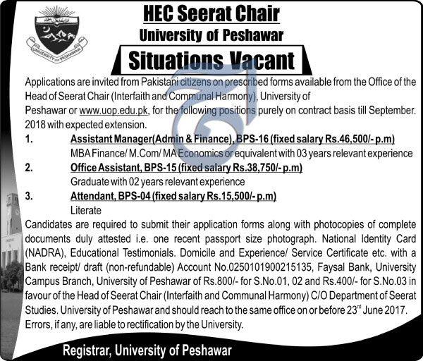 Employment Opportunities in Seerat Chair University of Peshawar http://ift.tt/2s8ld1s