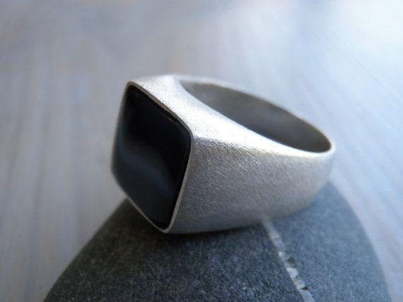 Brushed silver ring - not so shiny Men's ring Black Onyx ring  Silver Ring 12mm square by Limorafaeli, $300.00