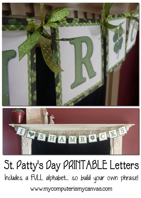 St Patrick's Day Printable Banner by mycomputerismycanvas on Etsy, $5.00 @Kristin Leach this is cute!