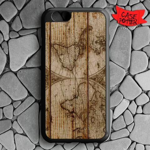 Old World Map Wood iPhone 6 iPhone 6S Black Case