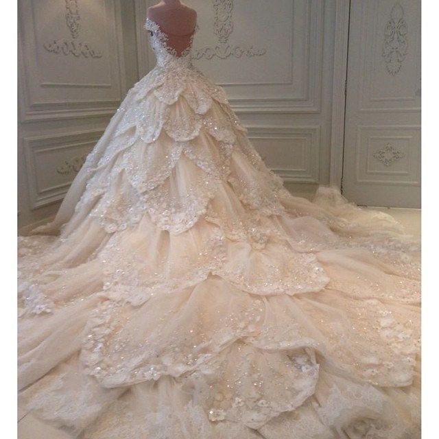 Luxury flower cathedral train wedding dress by RoyalWeddingStore, $1,520.00