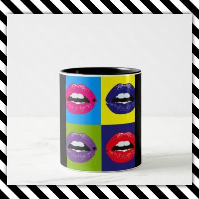 17€ Tazza con bocche colorate personalizzabile