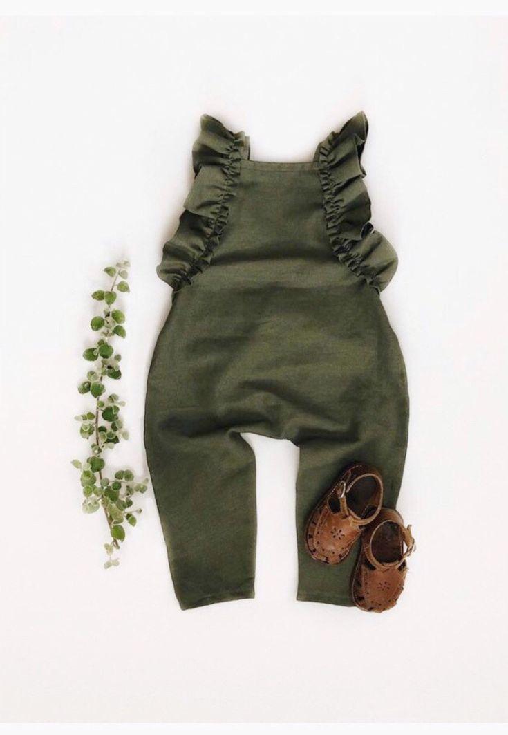 1eb30c48c00c Handmade Green Linen Baby Toddler Romper