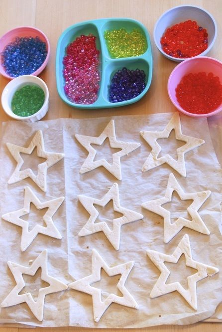 Setting up a fun station of pony beads and salt dough shapes. Such a fun way to make salt dough suncatchers!