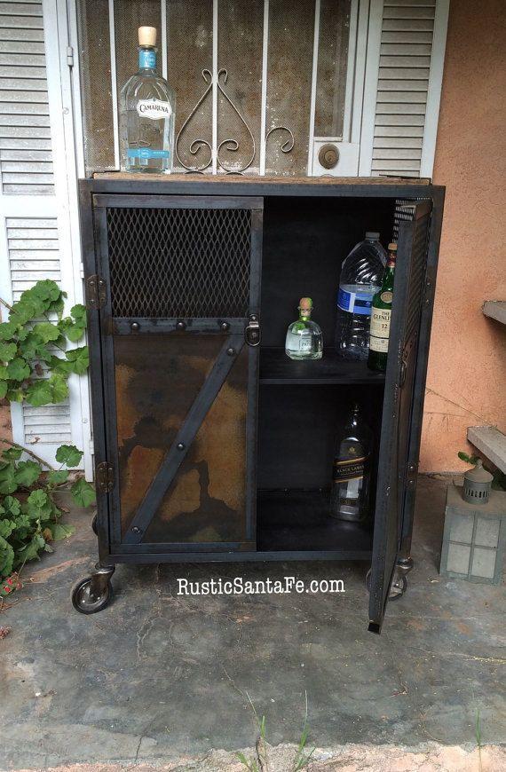Bar cart liquor cabinet rolling salon station by IndustrialSantaFe