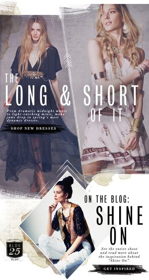 THE LONG AND SHORT OF IT - NICE EBLAST CONTENT IDEA FOR OUR MULTIPLE HEM LENGTHS  free people email layout / abby wilhelm