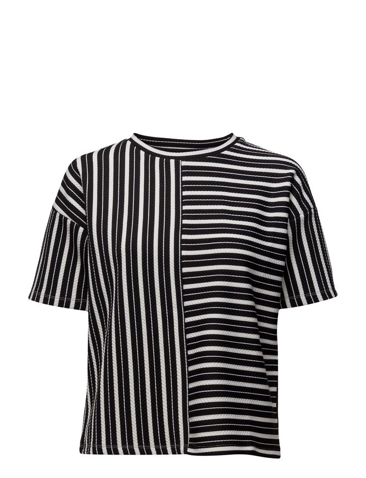 DAY - 2ND Cut Basket weave texture Loose fit Stretch fabric Modern Stripe T-Shirts