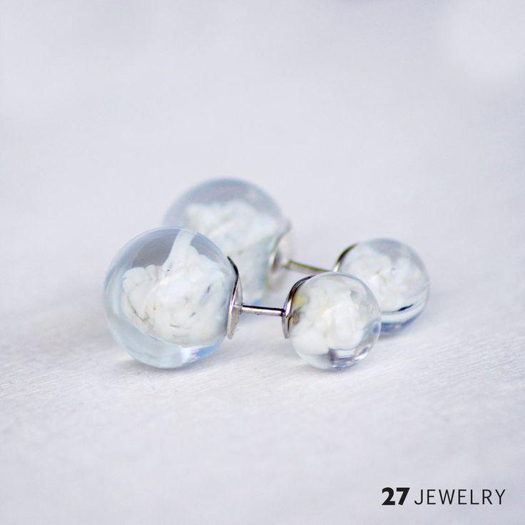 White 27jewelry Double Earrings   27jewelry