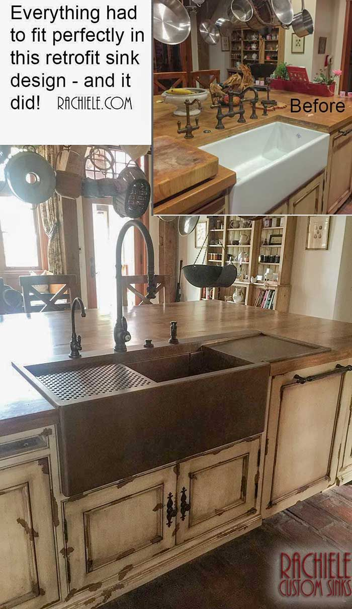 Custom retrofit copper top mount farmhouse sink with