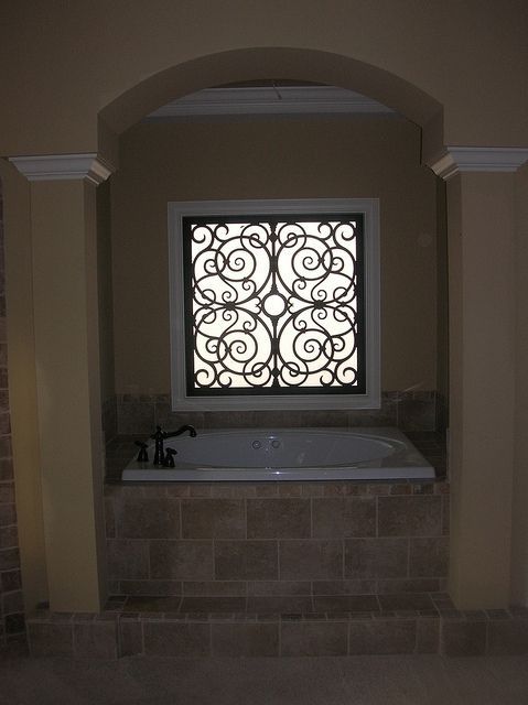 Faux Iron Bathroom Window Insert by tvonschimo, via Flickr- I need this in our master bathroom!