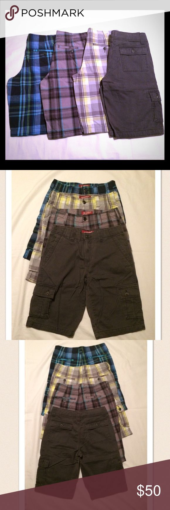 NWOT boys Arizona dress/khaki shorts NWOT boys Arizona dress/khaki shorts size 16. 3 pairs are plaid and one is an olive khaki color. They all have an adjustable waistband for a better fit. Bought these for my son and they didn't fit. Took the tags off before realizing that so I can't return them. Paid $15 each for these. Arizona Jean Company Bottoms Shorts