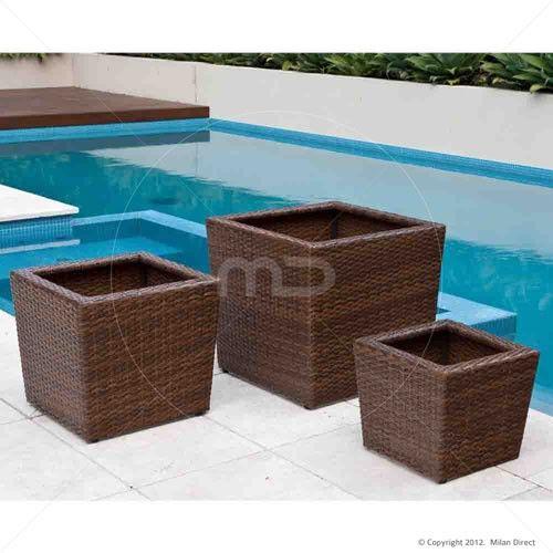 Maui Rattan Wicker Flower Pot - Set of 3 - £79