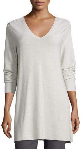 83acfc312a8fda Eileen Fisher Crisp Cotton Links Long-Sleeve V-Neck Tunic #white  #summer_cool #stunning #tunic #shopstyle