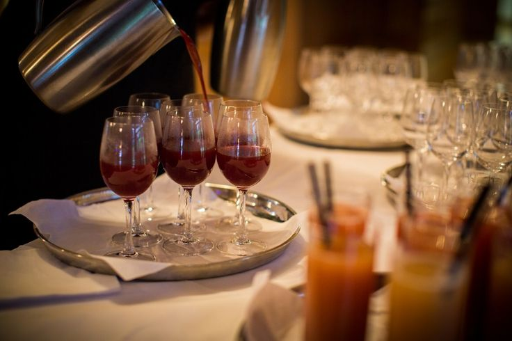 Warm mulled wine for a Winter drinks reception