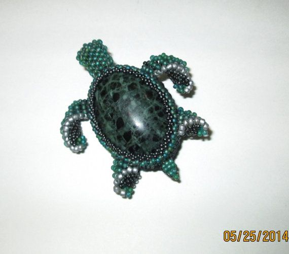 Green Stone Beaded Turtle Brooch by BeadedNature on Etsy, $90.00