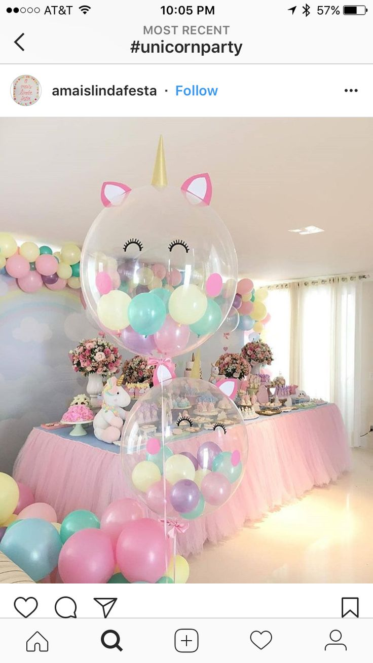 Beautiful soft pink and blue colors for party decorations.  Unicorn balloons perfect for baby shower or girls birthday party.  Job well done!