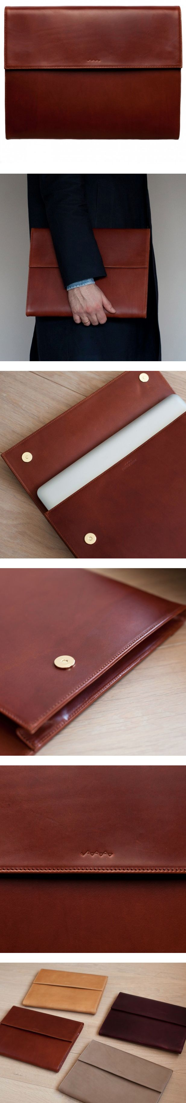 "Vachetta Leather Laptop Portfolio: A portfolio/slipcase made from rich vegetable tanned full grain buttero vachetta leather that will age beautifully. The portfolio is made to house a 13"" laptop. We had the MacBook 13"" in mind when we designed the case, but it will work beautifully with other 13"" laptops and the MacBok Air 13"" and 11"" inch models as well. Also room for some documents and a notebook alongside the laptop. Internal pocket for business cards etc."