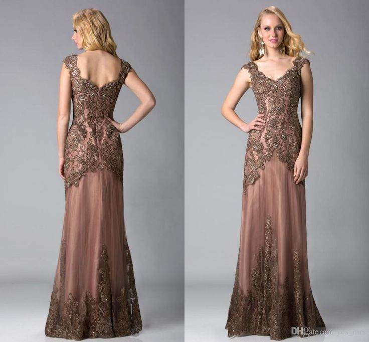 2016 Vintage Mother of the Bride Dresses for Women V Neck Cap Sleeves Brown Lace Appliques Beaded Long Plus Size Wedding Guest Dress Online with $129.65/Piece on Yes_mrs's Store | DHgate.com