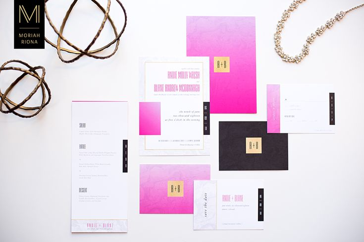 Modern and Glamorous Pink Wedding Invitations and Wedding Stationery designed by Moriah Riona. Inspired by Pretty In Pink, the collection includes a Wedding Invitation, Save The Date card, RSVP Reply Card, Menu Card and Postage Stamp. Neon Pink, Hot Pink, Pink ombre, with black, black marble, grey marble, carrara marble, and gold details. Includes modern monogram detail with modern and stunning fonts. For chic and sophisticated brides and grooms who love the color pink.