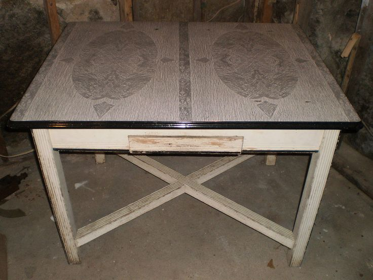 Vintage Black White Grey Porcelain Enamel Metal Top Kitchen Table (t)e bay.. for the kitchen
