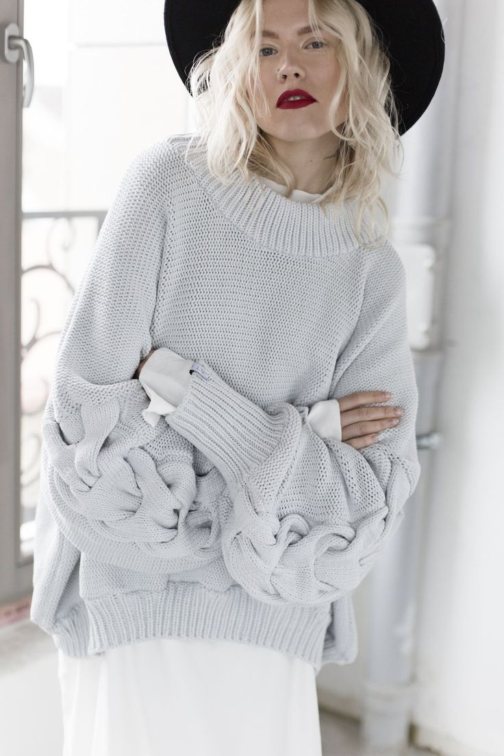 Jaelle Knitted Sweater in Sky Blue