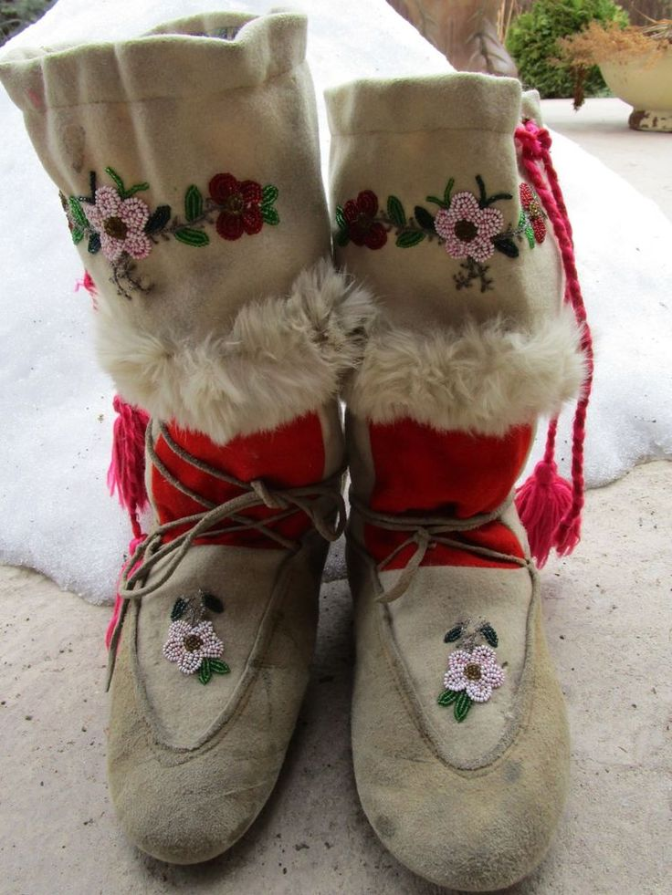 Vintage Northern Plains Moccasins Cree Indian Beaded Mukluks Boots Beadwork