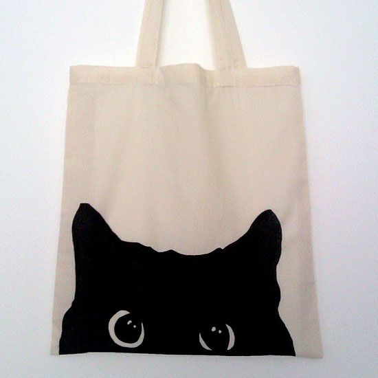Hand Painted Tote Shopping Bag - Black Cat