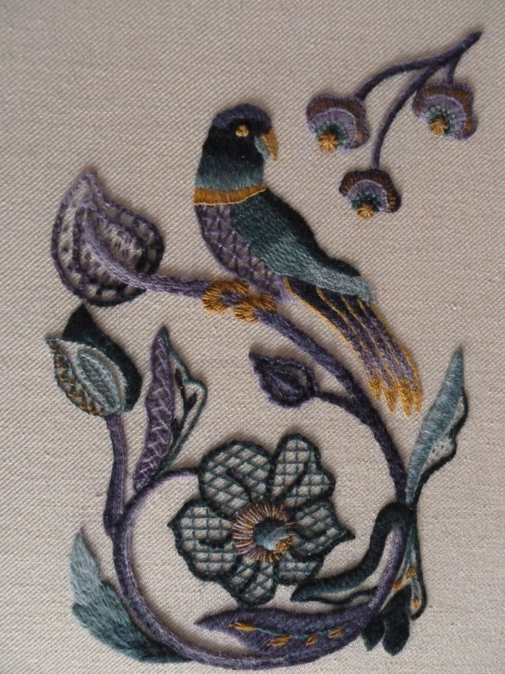 Jacobean embroidery, (RSN certificate)