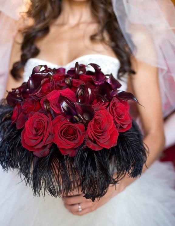 dark red wedding flowers
