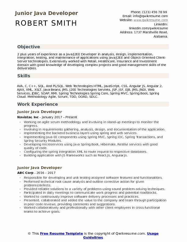 Java Developer Resume Sample Luxury Junior Java Developer Resume Samples Medical Assistant Resume Resume Skills Resume Examples